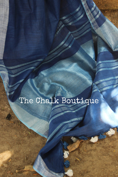 Blue Staple Viscose cotton saree with zari border. TCB-BL-RI-The Chalk Boutique