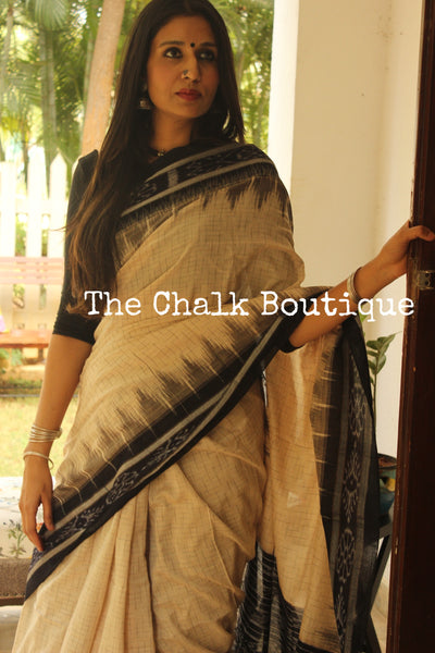 White with black border Handwoven sambalpuri jharna ikat saree in cotton. TCB-OR3-12-The Chalk Boutique