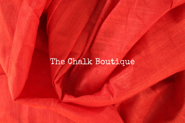 The Irresistible Red!! Staple Viscose cotton saree with zari border. TCB-RD-RI-The Chalk Boutique