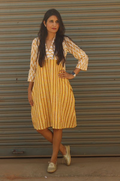White Yellow A-Line Handloom Cotton Dress. DRS0392-The Chalk Boutique