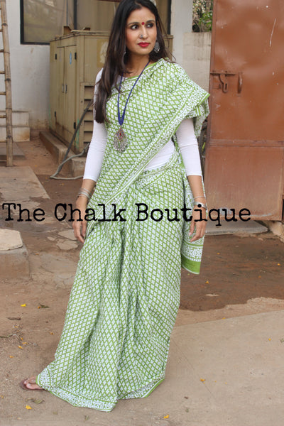 Green Hand Block Print Bagru Cotton Saree.  TCB-DP-23