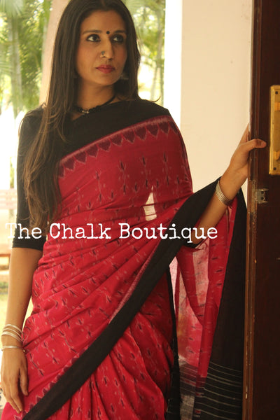 Pink and black Handwoven sambalpuri ikat saree in cotton. TCB-OR4-15