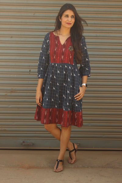 Indigo/Maroon Handloom Cotton Dress. DRS0376