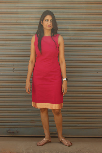 Pink South Cotton V back Sheath Dress. DRS0303-The Chalk Boutique