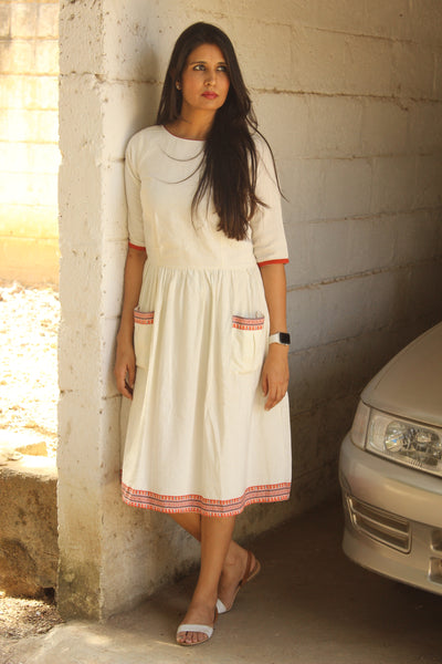 Off White Linen Cotton Midi Dress. DRS0230-The Chalk Boutique