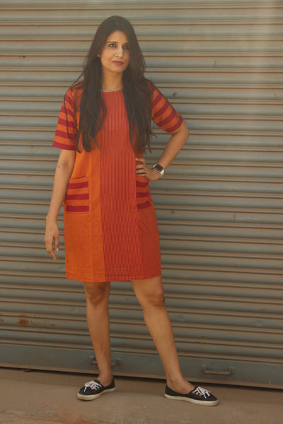 Rust Striped Shift Dress. DRS0254-The Chalk Boutique