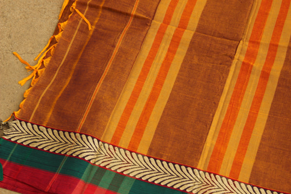Rust Colour Narayanpet cotton saree With Green & Red Border TCB-NP13-P13-The Chalk Boutique