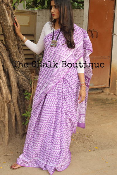 Hand Block Print Bagru Cotton Saree.  TCB-DP-30