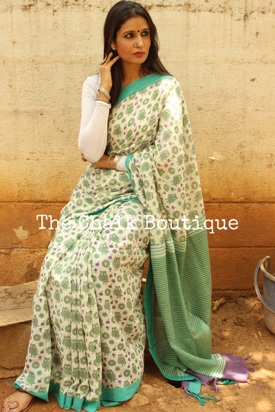 Owl handblock printed handloom cotton saree with contrast blouse fabric.TCB-PC1-BS