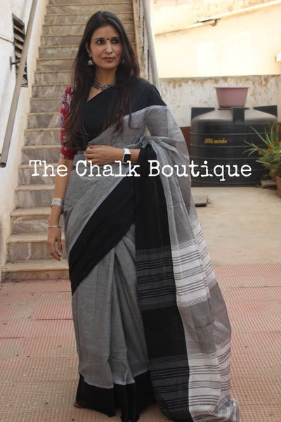 Grey with black border 'handloom mark' handwoven begumpuri saree. TCB-MP2-BG2-The Chalk Boutique
