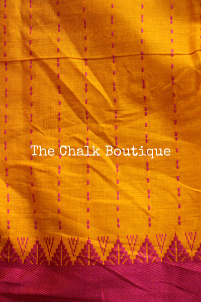 Green 'handloom mark' begumpuri saree with all over butis. TCB-ACR-BG2-The Chalk Boutique