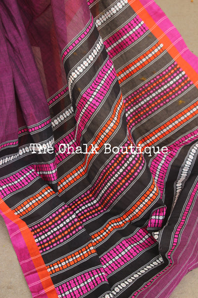 Purple 'handloom mark' begumpuri saree with contrast border. TCB-PLM-BG2-The Chalk Boutique