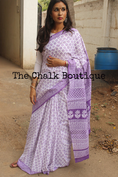 Hand Block Print Bagru Cotton Saree.  TCB-DP-34