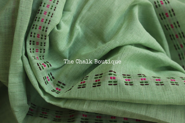 Mint Green 'handloom mark' begumpuri saree with contrast border. TCB-ACN-BG2-The Chalk Boutique