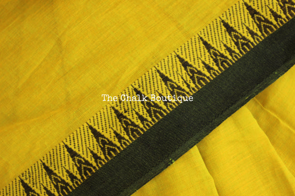 Green 'handloom mark' begumpuri saree with contrast border. TCB-BBP-BG2-The Chalk Boutique