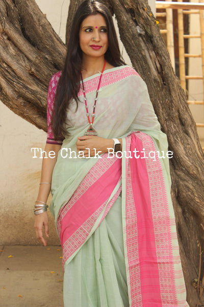 Mint Green 'handloom mark' begumpuri saree with contrast border. TCB-SPN-BG2-The Chalk Boutique