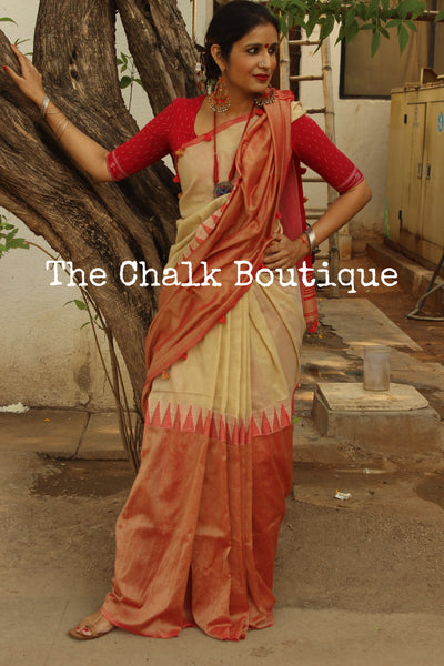 Cotton saree with temple border. NF-MAD2-C4-The Chalk Boutique