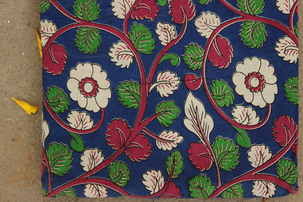 Blue Floral Hand Block Printed Cotton Kalamkari Fabric. TCB-KAL12-P24