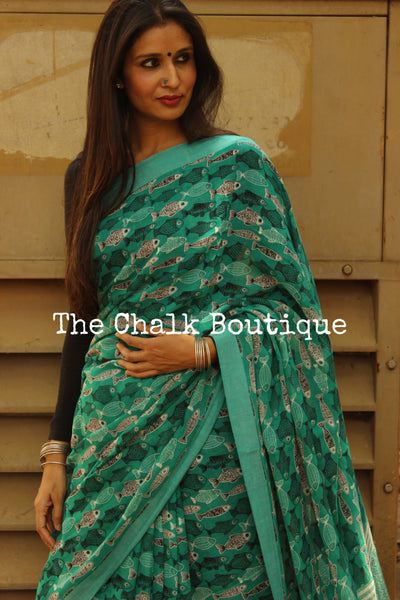 'School of Fish' sea green handblock printed handloom cotton saree.TCB-PC5-BS-The Chalk Boutique