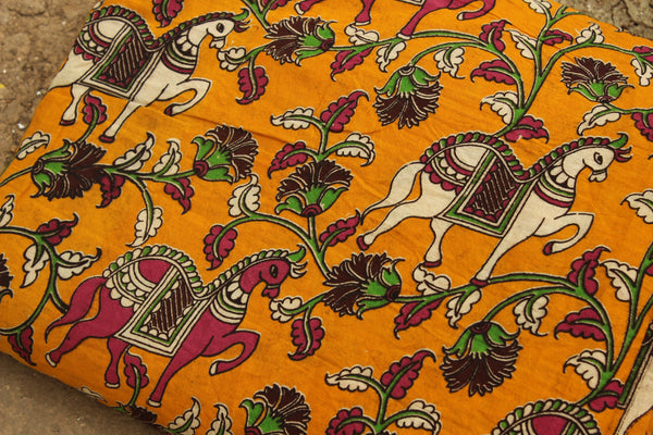 Turmeric Yellow Horses Hand Block Printed Cotton Kalamkari  Fabric. TCB-KAL2-P2