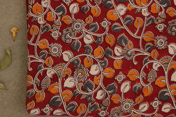 Red Floral Hand Block Printed Cotton Kalamkari Fabric. TCB-KAL16-P24