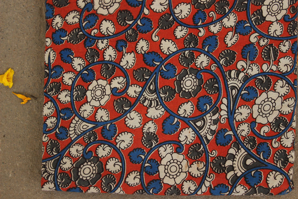 Orange Floral Hand Block Printed Cotton Kalamkari Fabric. TCB-KAL11-P24