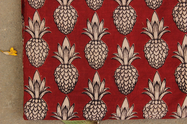Red 'Pineapples' Hand Block Printed Cotton Kalamkari Fabric.