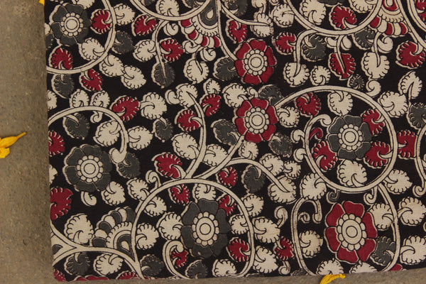 Black and Grey Hand Block Printed Cotton Kalamkari Fabric. TCB-KAL17-P24