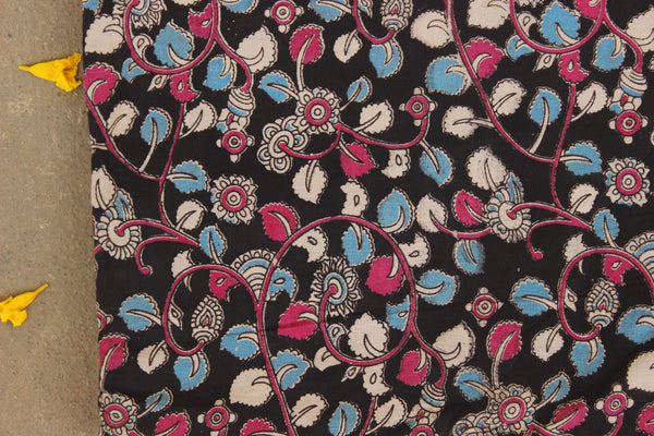 Black and Pink Hand Block Printed Cotton Kalamkari Fabric. TCB-KAL4-P24