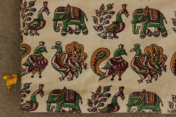 Beige Peacock and Elephants Hand Block Printed Cotton Kalamkari Fabric. TCB-KAL2-P24
