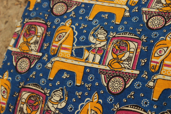 Blue Tribal Print Hand Block Printed Cotton Kalamkari  Fabric. TCB-KAL3-P2