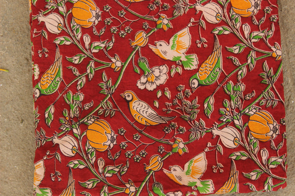 Red Fly Away Birdie Hand Block Printed Cotton Kalamkari Fabric. TCB-KAL5-P24