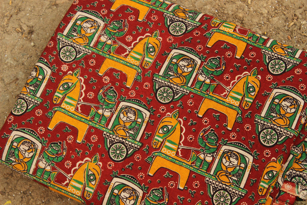 Red Tribal Print Hand Block Printed Cotton Kalamkari  Fabric. TCB-KAL20-P2