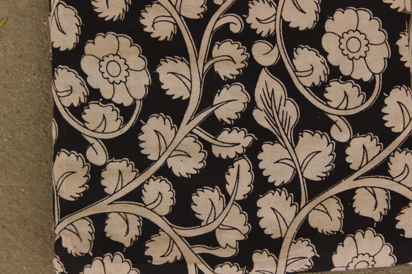 Black Floral Hand Block Printed Cotton Kalamkari Fabric. TCB-KAL3-P24