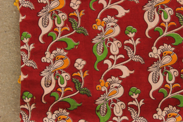 Red Peacock Hand Block Printed Cotton Kalamkari Fabric. TCB-KAL23-P24