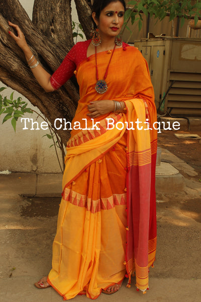 Khadi cotton saree with temple border. NF-MAD4-C4