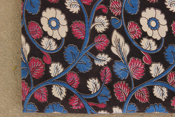 Black Floral Hand Block Printed Cotton Kalamkari Fabric. TCB-KAL19-P24