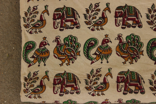 Beige Peacock and Elephant Hand Block Printed Cotton Kalamkari Fabric. TCB-KAL10-P24
