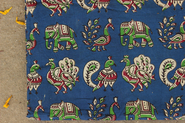 Blue Peacock and Elephant Cotton Kalamkari Fabric. TCB-KAL6-P24