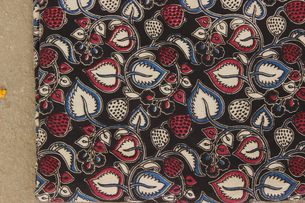 Black Fruits and Leaves Cotton Kalamkari Fabric. TCB-KAL18-P24
