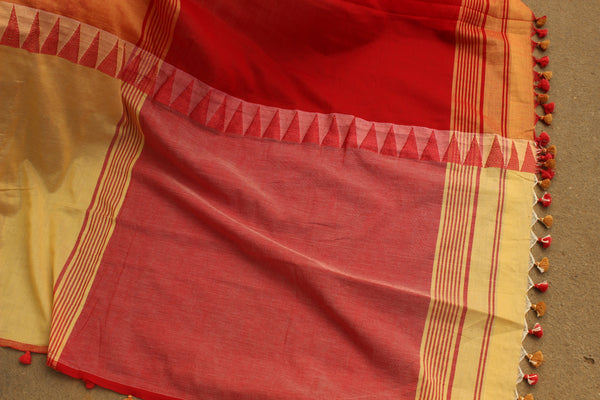 Khadi cotton saree with temple border. NF-MAD5-C4