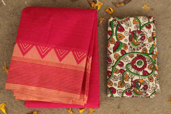 Pink Cotton Saree with contrast Woven Border. TCB-KC5-KN1-The Chalk Boutique