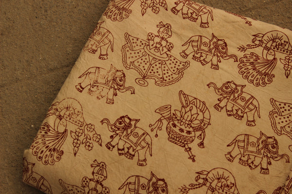 Hand Block Printed Cotton Kalamkari  Fabric. TCB-KAL17-P2