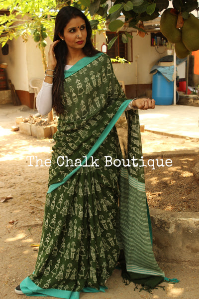 'Tribal folks' green handblock printed handloom cotton saree.TCB-PC9-BS