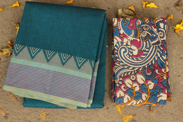 Blue Cotton Saree with contrast Woven Border. TCB-KC7-KN1-The Chalk Boutique