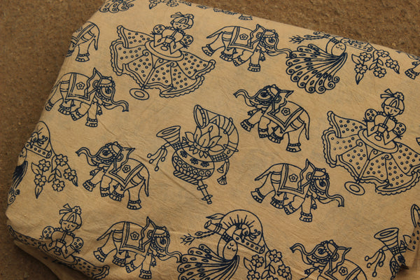 Hand Block Printed Cotton Kalamkari  Fabric. TCB-KAL13-P2
