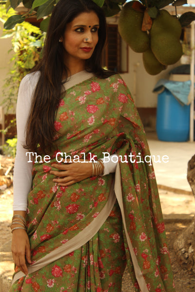 'Summer Pinks' handblock printed handloom cotton saree.TCB-PC10-BS-The Chalk Boutique
