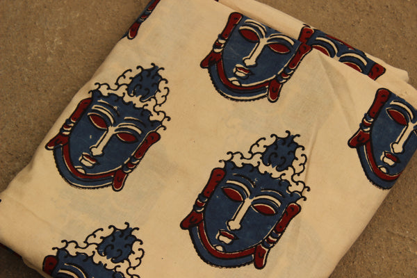 Buddha Hand Block Printed Cotton Kalamkari  Fabric. TCBP-BABP-4