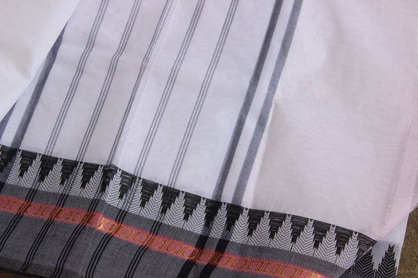 White Cotton Saree with contrast Woven Border. TCB-KC9-KN1-The Chalk Boutique