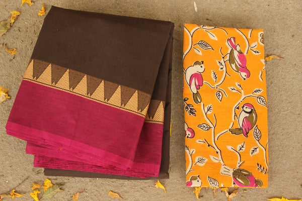 Chocolate brown Cotton Saree with contrast Woven Border. TCB-KC10-KN1-The Chalk Boutique